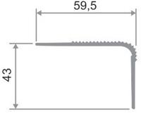 Уголок для пола на ступени 60х40 мм.