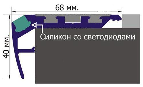 Алюминиевый профиль на ступени с подсветкой и противоскользящей резинкой