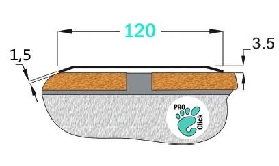 Широкий порожек без отверстий, ширина 80 мм.