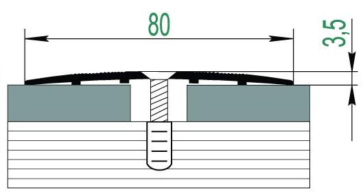 Алюминиевый широкий порог для пола А8