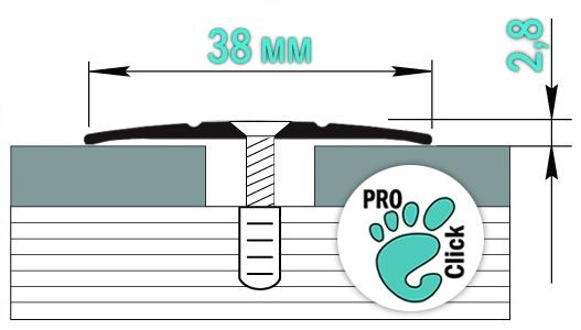 Половой стык с отверстиями, ширина 38 мм.