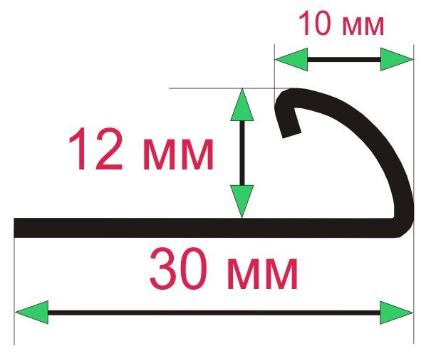 Раскладка для отделки внешних углов керамической плитки, толщиной 12 мм.