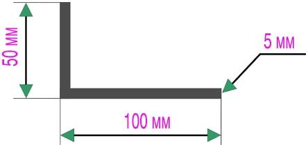 Разноуровневый уголок из алюминия 50х100 мм, толщиной 5 мм.