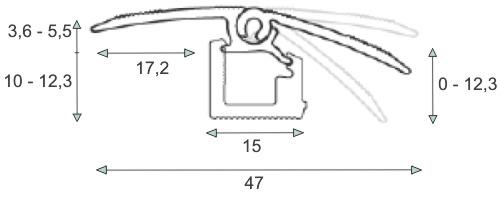 Универсальный порог с перепадом от 0 до 12 мм.