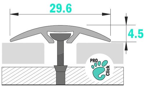 Порог со скрытым креплением, ширина 30 мм