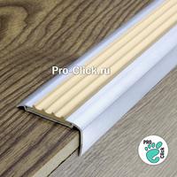 Алюминиевый порог 42х20 мм, Коричневая резинка
