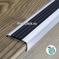 Алюминиевый порог 42х20 мм, Чёрная резинка